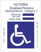 Category 1 Disabled Parking Permit