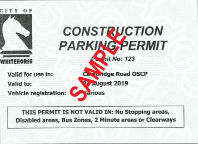 Whitehorse Construction Parking Permit