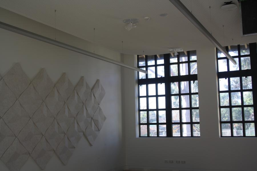 Acoustic panels on wall