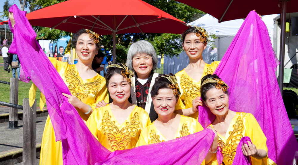 Asian traditional female dance group in costumes
