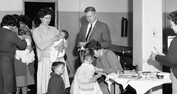 Immunisation day at Box Hill Town Hall c. 1950s
