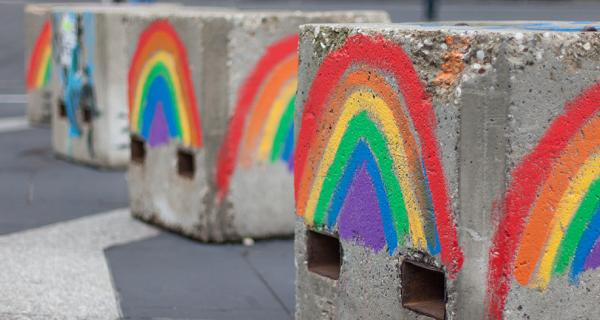 rainbows painted on concrete blocks