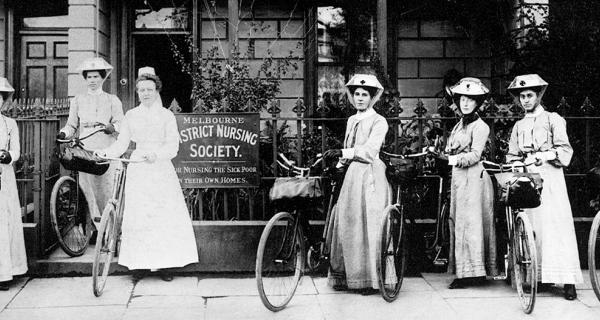 Melbourne District Nursing Society: Nurse and Matron with bikes, 1905
