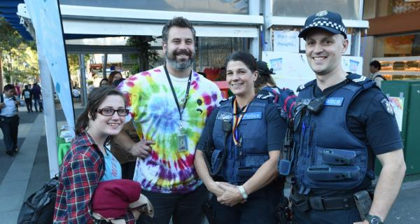 Young person with Youth Worker and local Police Officers at Box Hill Mall event