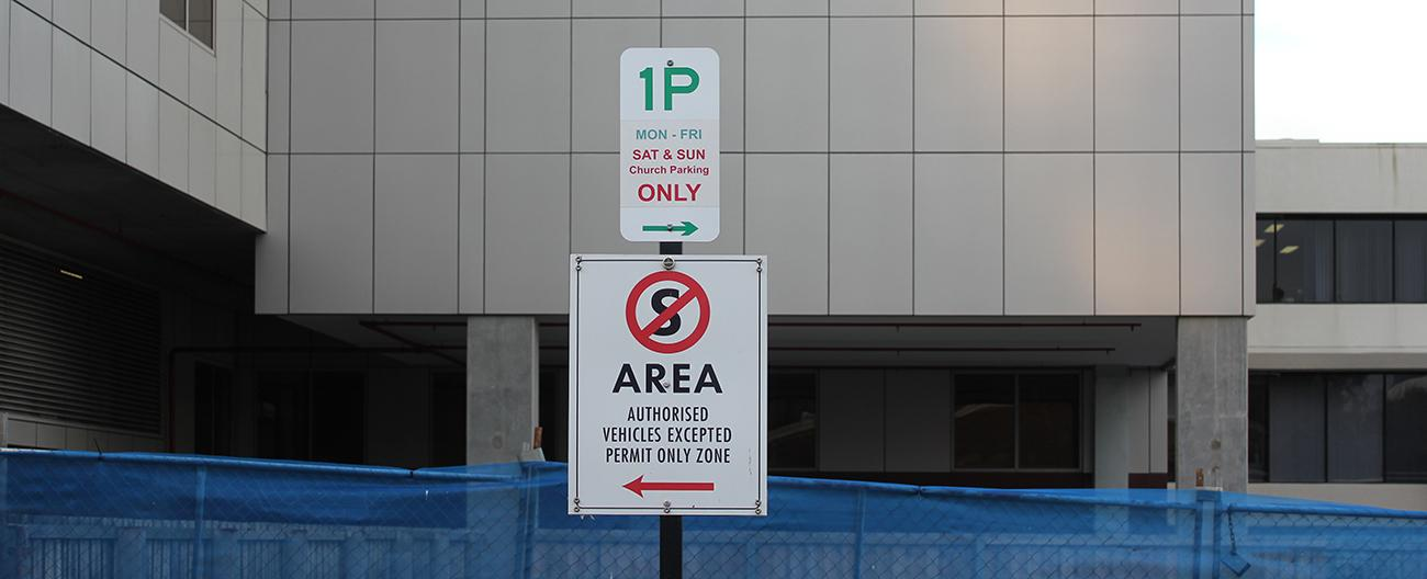 Parking restriction signs