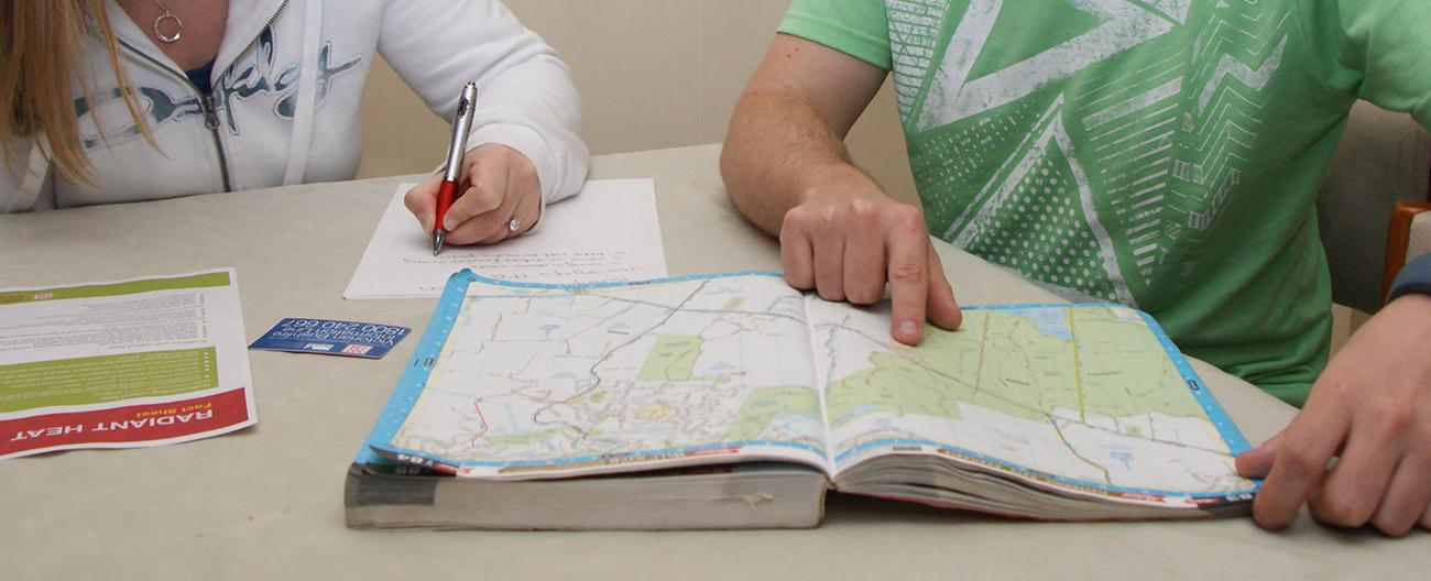 Reading a map and taking notes