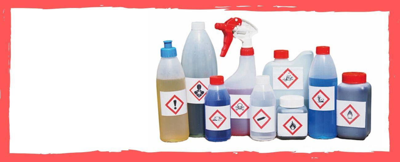 household chemicals with warning symbols